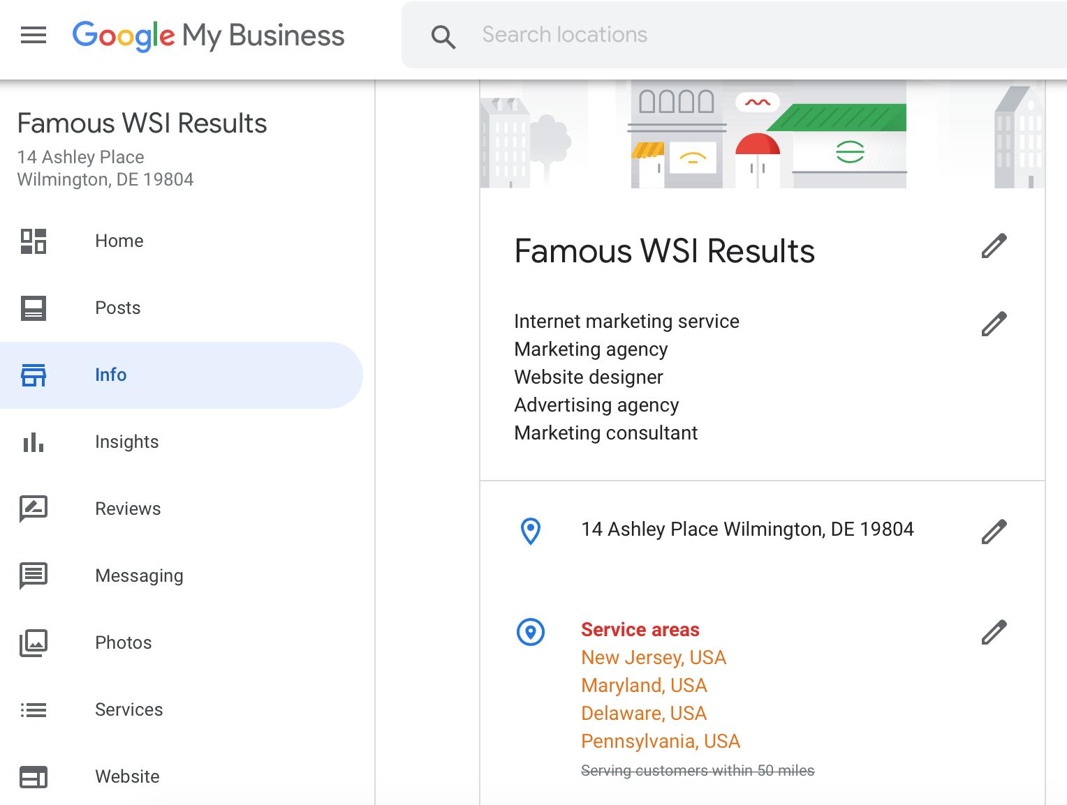 Google My Business service area